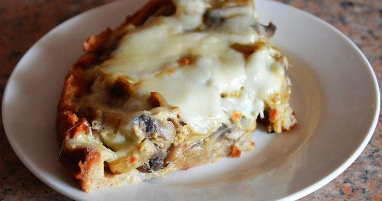 Tarta twarogowa z pieczarkami i mozzarellą
