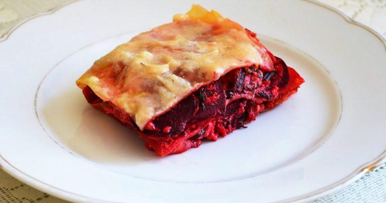 Lasagne z botwinką, ricottą i szynką parmeńską