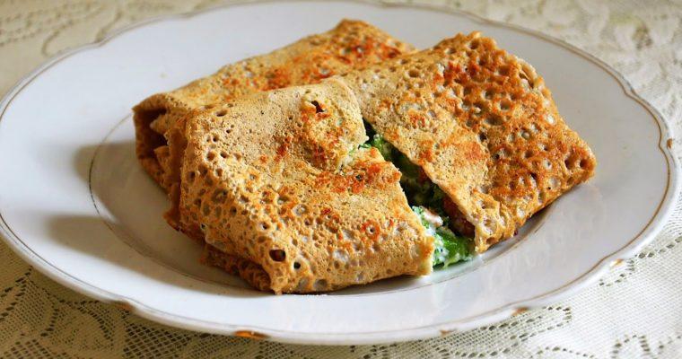 Naleśniki pełnoziarniste z ricottą, brokułami i boczkiem