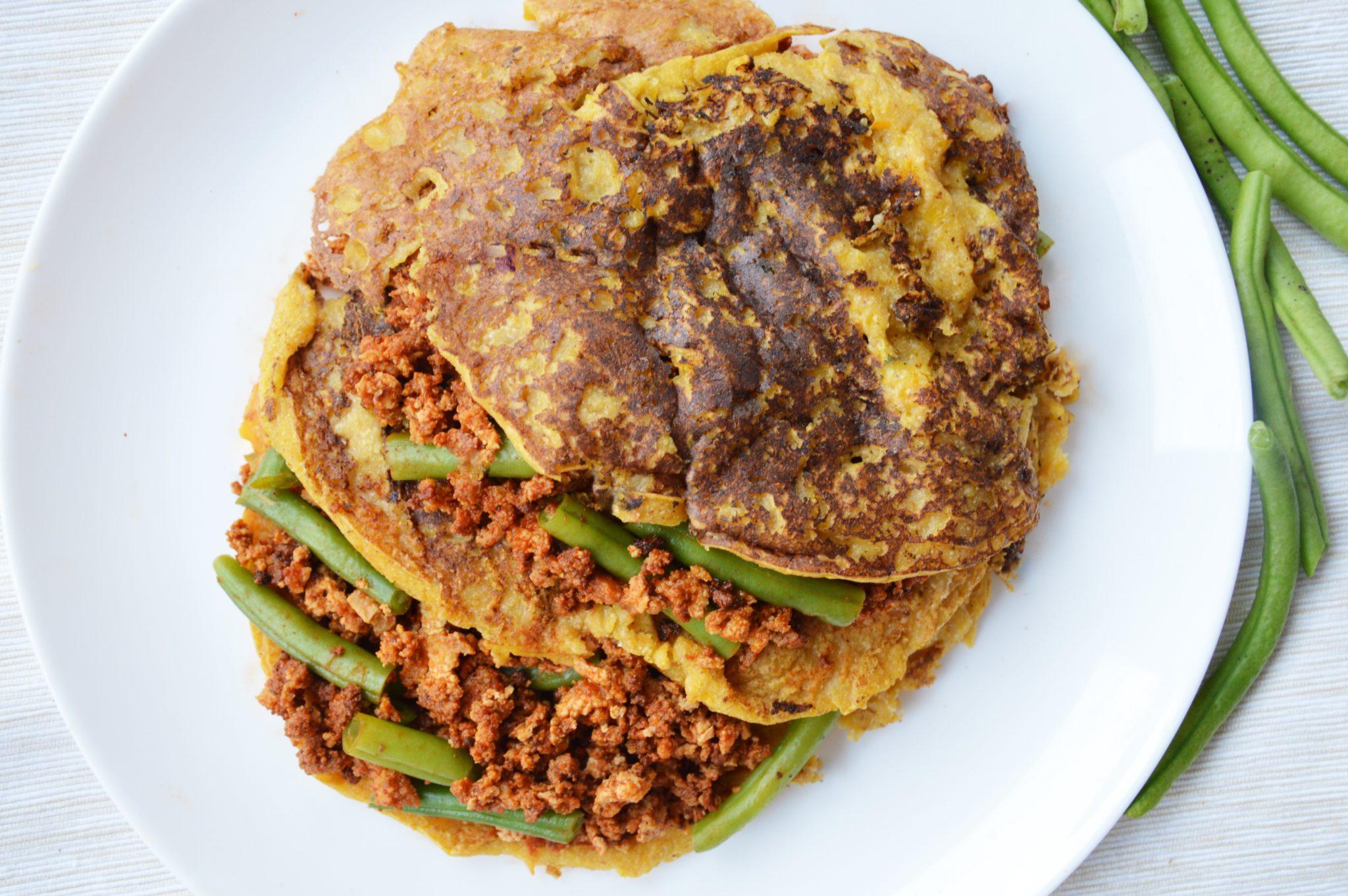 Naleśniki dyniowe z wegańskim tofu mięsem
