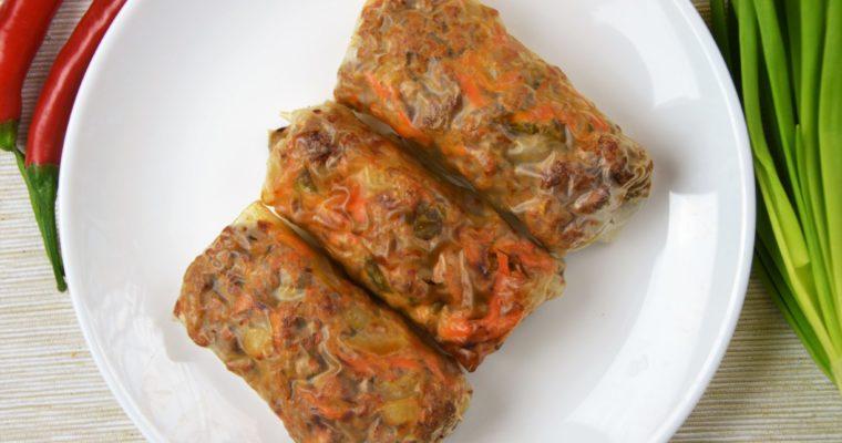 Fit pieczone sajgonki z mielonym mięsem i marchewką