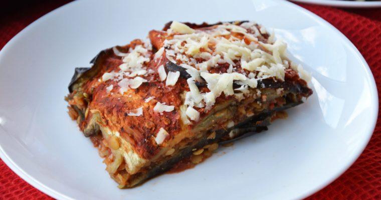 Lasagne z bakłażana z soczewicą czerwoną