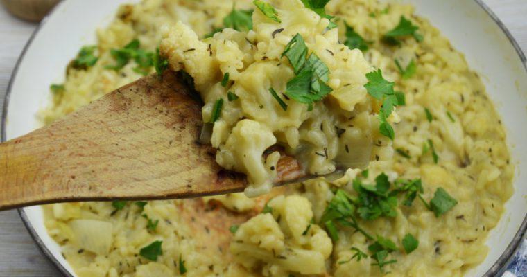Risotto z pieczonym kalafiorem i serem camemebert