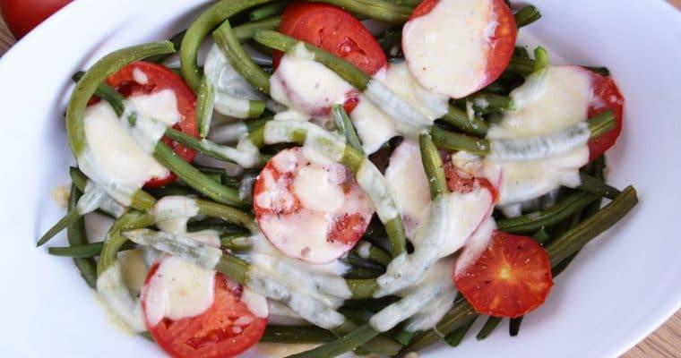 Fasolka szparagowa zapiekana z mozzarellą – łatwe, szybkie i pyszne danie lub dodatek do obiadu